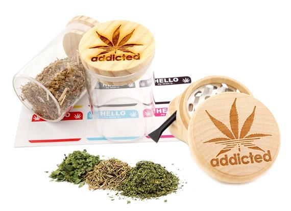Addicted Engraved Premium Natural Wooden Grinder & Wood Lid Glass Jar Gift Set # GS103116-3