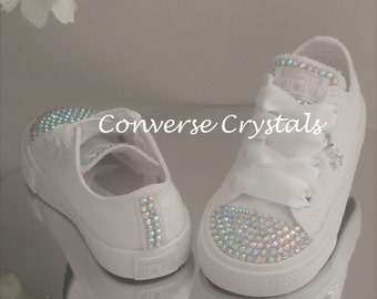 Girls Custom Crystal  Toes, Tongue and Backs *Bling* Converse  Infant Sizes 2-10. Various Options available.