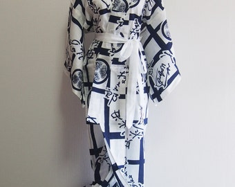 Japanese summer time kimono/ Yukata/ white with Kamon