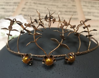 Vintage golden myrtle wedding crown, Boho headpiece, rustic wedding, bridal hairband, hair accessories, hair wreath, bridal tiara,