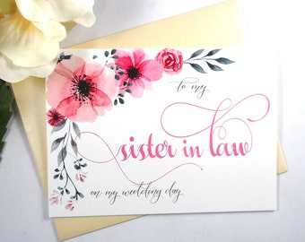 TO My SISTER in LAW on my Wedding Day Card, Shimmer Envelope,To My Sister In Law Card, Sister in Law Card, Sister in Law Gift, Wedding Cards