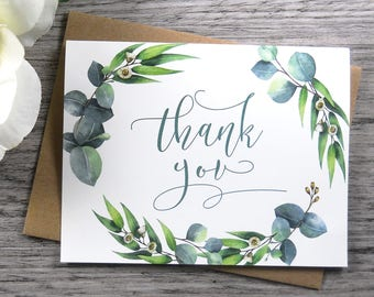 Set of 8, THANK YOU CARDS, Thank You Cards Set, Thank You Notes, Wedding Thank You Cards, Thank You Card Set, Greenery Wedding