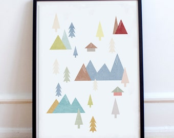 Scandinavian Coloured Mountain Range Poster Print- Minimalist, nordic, pastel colours print