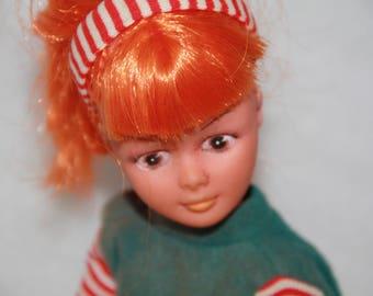 Vintage doll 35 cm vintage doll Fashion doll Hong Kong Fashion doll floppy doll movable doll retro doll orange hair doll red hair doll