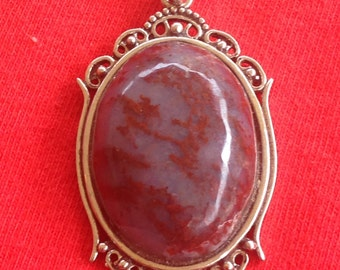 Cabochon pendant, mossy agate, 30mm x 22mm