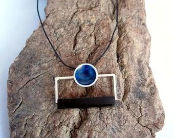 Hanging Jet and blue enamel. Colgate black stone. Silver Pendant. fossil wood. handmade.