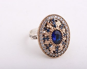 Glamorous! Turkish Handmade Jewelry Sapphire Topaz Oval 925 Sterling Silver Ring Size 9