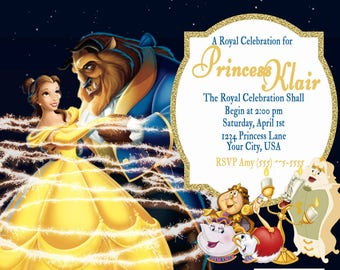 Beauty and the Beast Theme Birthday Invitation