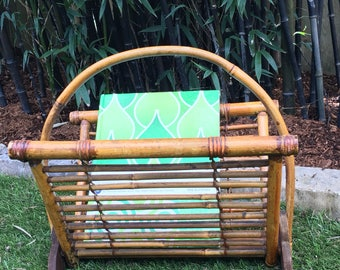Antique Burnt Bamboo or Tortoise Bamboo Magazine Rack