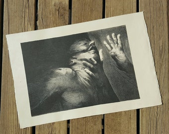 Lithograph after an unknown work of the workshop Bellini vintage