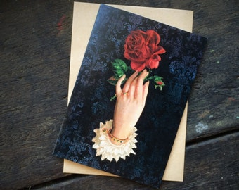 Gothic Wiccan Witchcraft, Vintage Red Rose Floral Love Spell, Valentines,Christmas,Mothers Day, Luxury greeting card.