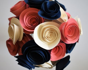 Coral and Navy Wedding, Coral, Navy, and Ivory Paper Flower Bouquet, Alternative Paper Rose Bouquet