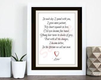 Each Day I Love Poem - Anniversary, Romantic, Just Because Digital Art