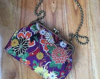 Japanese Floral Two Compartment Frame Clutch