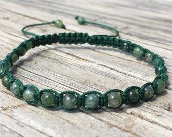 Green Agate Bead Bracelet, Green Agate Beaded Anklet, Macrame Friendship Bracelet, Beaded Bracelet, Boho Bracelet, Gift for Her, Small Gift