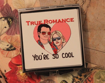 True Romance Compact mirror: Cosmetics, Mirror, Make up, Romance, Heart, Love, Cool, Sunglasses, Couple, Film, Movie