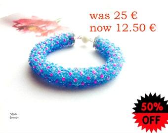 ON SALE 50% women's jewelry, Blue, pink beaded bracelet, spiral beadweaving bracelet, magnetic clasp