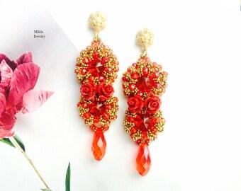 Bead earrings, red, gold glass beaded earrings, chandelier earrings,  beadwork jewelry, dangle drop earrings, handmade stud earrings for her