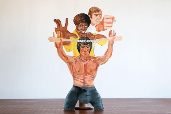 1970's Outsider Art Acrylic Painting of Bruce Lee, Chuck Norris, Jim Kelly // Martial Arts, Karate, Art, Cut-out // Vintage, Hipster, Folk