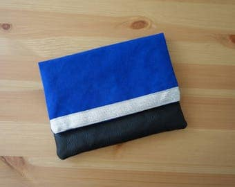 Small wallet black and electric Blue Suede - PROTOTYPE