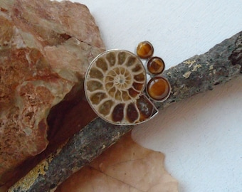 Ammonite fossil & Tiger's eye, ring, Ø 20.0 mm, adjustable, silver plated