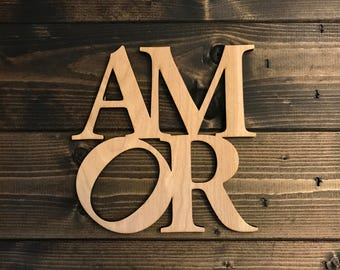 AMOR - Love Sculpture Wood Sign Inspired by Robert Indiana, Laser Cut Wood