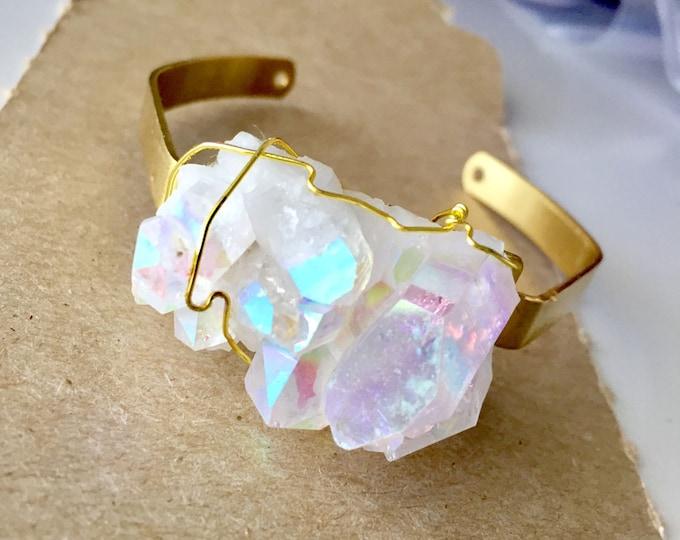 Opal Aura Rare Quartz Fancy Druzy Crystal Gold Cuff Bracelet