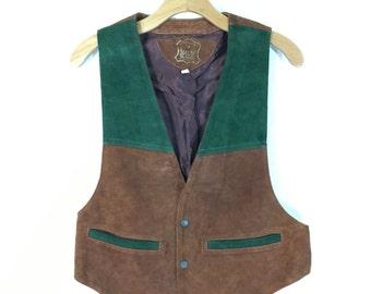 70's two tone suede leather color block vest mens size 40
