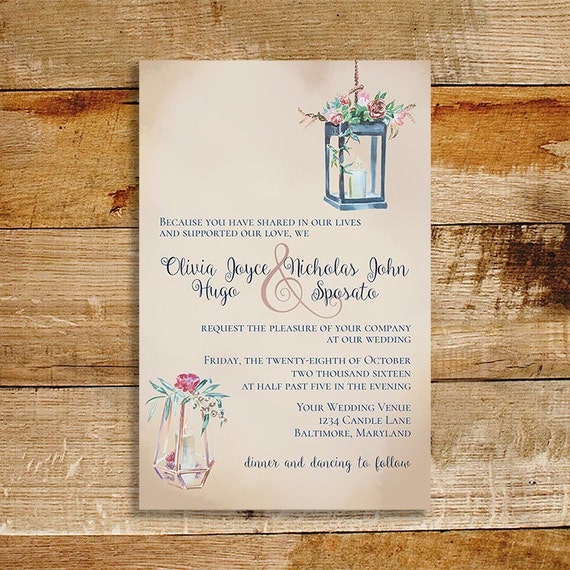 Wedding Invitation Candles: Vintage Wedding Invitation Candles And Roses Watercolor