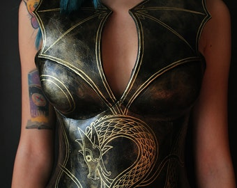 Norse Dragon fantasy corset - overbust - larp - mother of dragons - cosplay - costume - fake metal - foam armor - viking - fantasy clothing