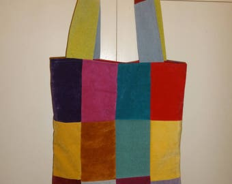 patchwork shoulder bag with purse and card holder