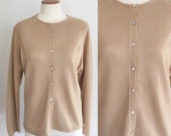 1990s camel cardigan sweater / vintage taupe tan cardigan / 90s sweater / vintage cardigan / small S medium M