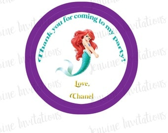 Little Mermaid Birthday Stickers,Gift Tags, Party Favors, Birthday Stickers, Personalized,Party, Decorations, Custom Stickers - Set of 12