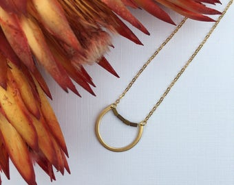 Minimalist Brass Circle Necklace