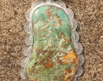 Large Turquoise and Sterling Silver Necklace