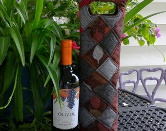 Wine Tote, Insulated Wine Caddie, Wine Carrier, Wine Holder, Quilted Wine Bag, Bottle Tote, Bottle Carrier, Picnic Wine Carrier
