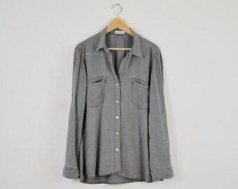 Long Pale Grey Shirt  |  Oversized Vintage Grey Blouse  | Vintage Grey Button Down Shirt