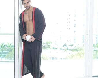 Chevalier - Men's Lounging Long Hooded Robe, and matching pants.