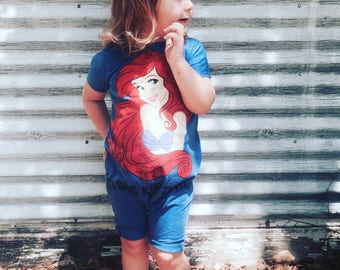 Ariel tshirt romper- custom romper-custom clothing- custom disney - disney princess romper disney outfit
