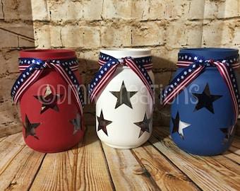 Set Of Patriotic  Painted Mason Jar Tea Light Candle Holders, painted mason jar, mason jar, tea light candle,  Patriotic mason jar, July 4th