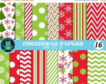 75% OFF SALE Christmas Digital Papers, Christmas, Christmas Scrapbook Papers, Background, Commercial Use - UZDP1855