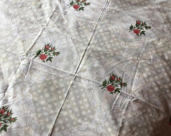Beautiful vintage oval floral table cloth with red roses