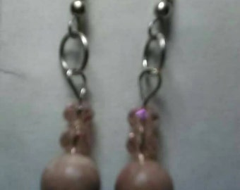Picture Stone and Champagne Swarovski Crystal Dangle Earrings