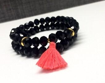 2 For 22.00 Crystal gems bracelet,Tassel bracelet,mini tassel bracelet,black crystal beads bracelet,tassel bracelet and nlack crystal beads,