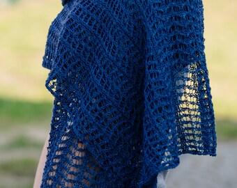 Denim romantic hand-made shawl made with thin schurwool,  Wedding shawl, Romantic femine shaw,l   Knitting shawl,   OOAK,   Ready to ship.