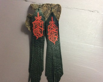 Hand-painted Leather Fringe Earrings