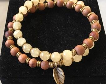 Manifest Destiny Bracelet, Mala Bracelet, third chakra, yellow jade, sandalwood, yoga bracelet,
