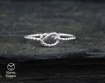 Rope knot ring, Twisted wire ring. Sterling silver, 14k Yellow or rose Gold filled. Friendship ring, engagement ring, knuckle ring