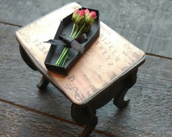 Mini Rose Bouquet in Coffin Box - Red Roses - Gothic Decor - Dolls House - Valentines - Flowers