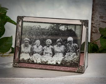 Pink Rose Glass Picture Frame 4x6 Horizontal Stained Glass Photo Frame Vintage Decor Gift for Mom Birthday Wedding Anniversary Pic 330-46H